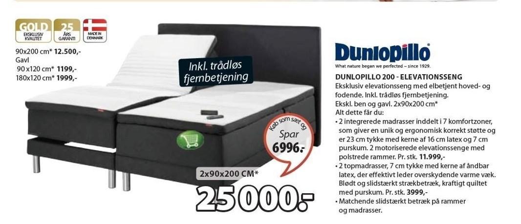 Dunlopillo 200 - Elevationsseng 2x90x200 cm inkl. trådløs fjernbetjening