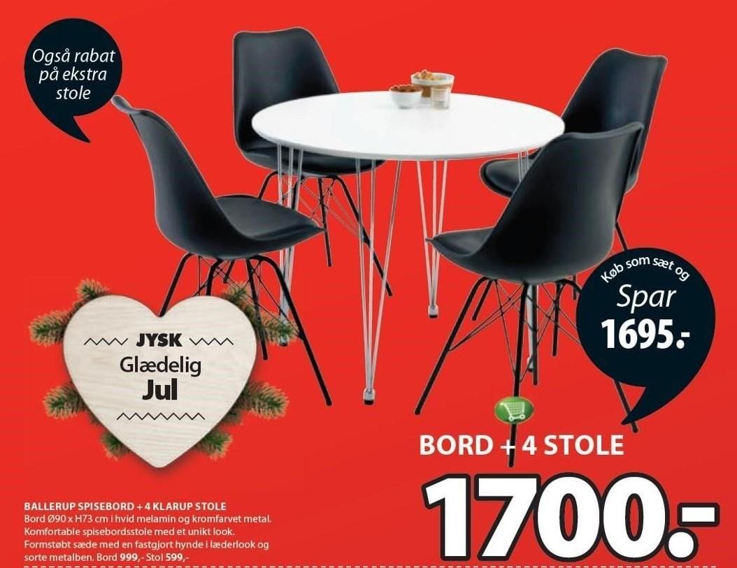 Ballerup spisebord + 4 klap stole