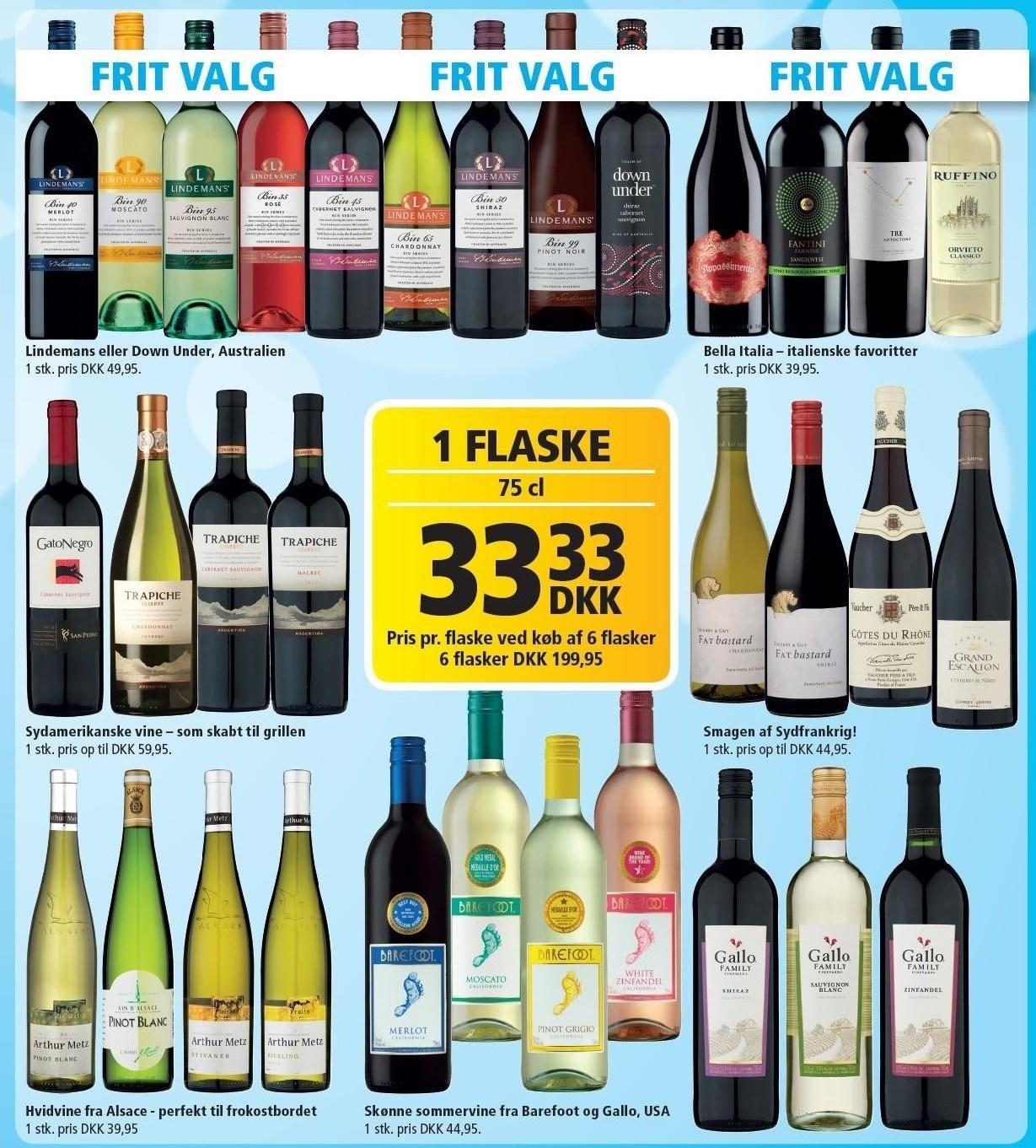 Rødvin, hvidvin eller rosé pr. flaske v/ køb af 6 flasker