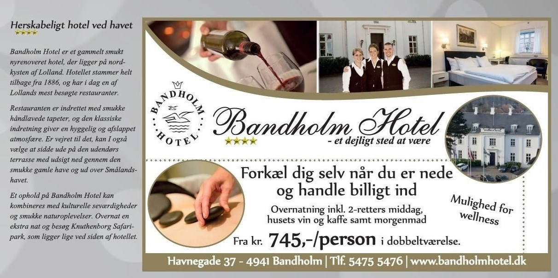 Overnatning inkl. 2-retters middag, husets vin og kaffe samt morgenmad på Bandholm Hotel pr. person i dobbeltværelse