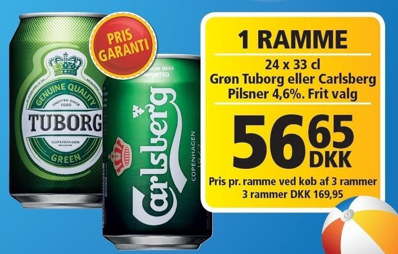 Grøn Tuborg eller Carlsberg pr. ramme v/ køb af 3 rammer