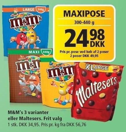 M&M's 3 varianter eller Maltesers pr. pose v/ køb af 2 poser