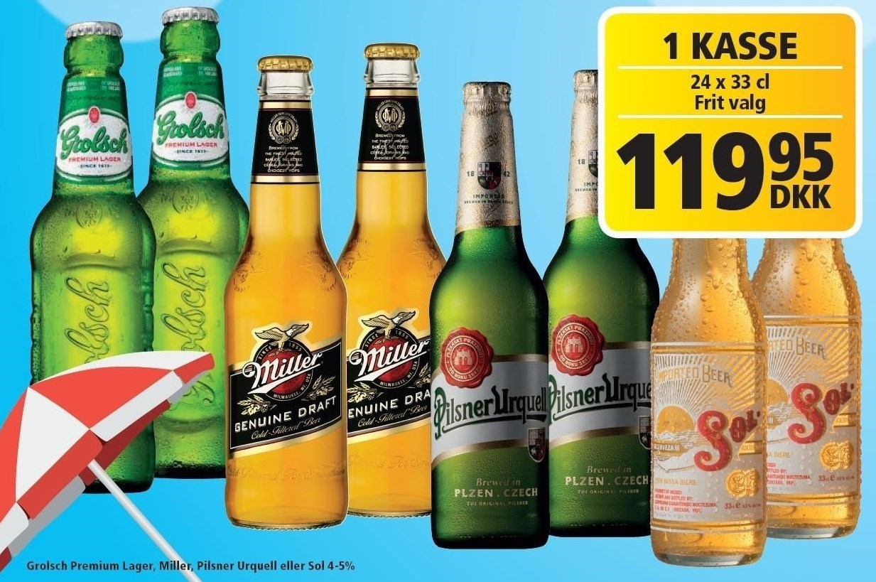 Grolsch Premium Lager, Miller, Pilsner Urquell eller Sol pr. kasse